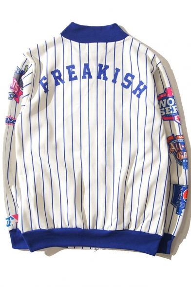 Letter Baseball Hip Print Jacket Collar Long Style Up Hop Unisex Sleeve Striped Stand qOpE4P1px