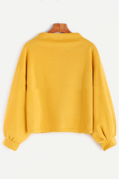 High Long Casual Pullover Leisure Sweatshirt Sleeves Applique Letter Neck Blouson qwnZBS7E