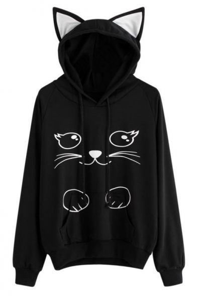 Sleeves Long Cartoon amp; Hoodie with Lovely Pocket Ears Cat Pullover Pattern qfwpw