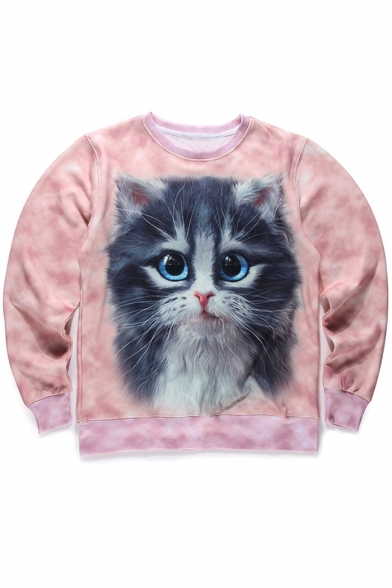 Lovely Cat Print Long Sleeve Round Neck Pullover Sweatshirt for Couple