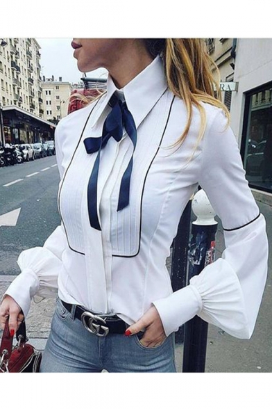 Shirt New Long Fitted Bow Stylish Lapel Front Tie Slim Sleeve 6nFA6pq