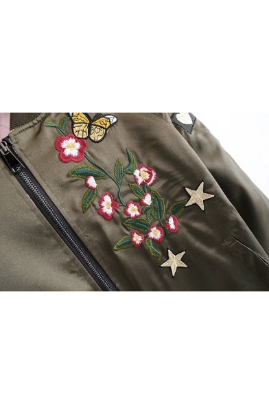 New Trendy Print Embroidered Stand Up Collar Zipper Front Color Block Double-Sided Wear Coat