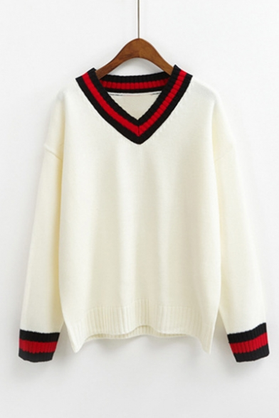 Купить со скидкой New Trendy Striped Trim Long Sleeve V-Neck Pullover Sweater