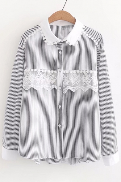 Popular Striped Pattern Lace Insert Button Down Point Collar Shirt