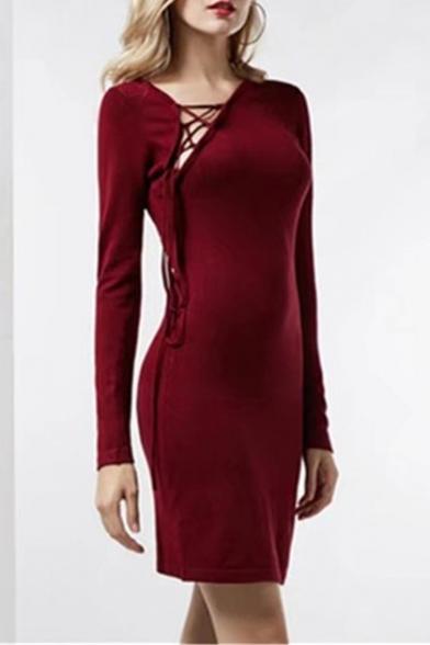 Sexy Strappy Neck Plain Long Sleeves Mini Pencil Dress