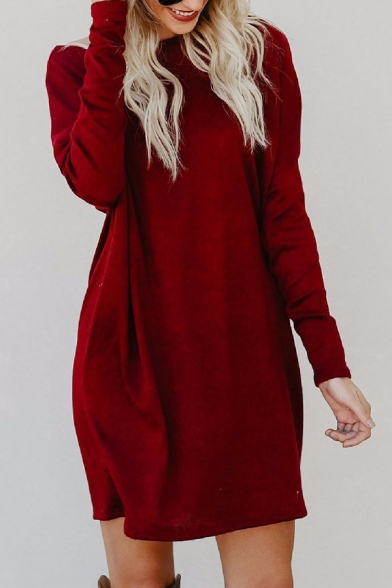 Simple Plain Boat Neck Long Sleeves Loose Shift Mini Dress