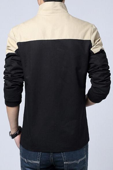Stylish Color Block Long Sleeves Single-Breasted Zippered Utility Jacket with Pocket