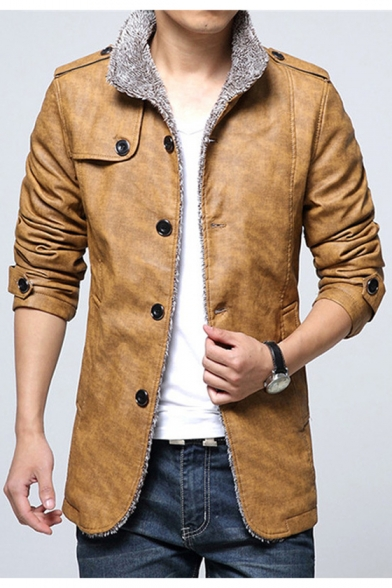 Stylish Stand Collar Single Breasted Long Sleeve Plain Leather Jacket