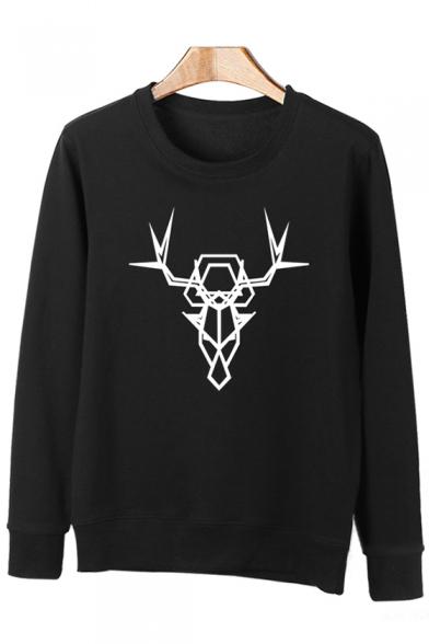 Abstract Neck Sleeve Sweatshirt Trendy Deer Long Round Print Pullover fwwAdYq