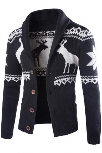Collection Down Deer Ethic Winter's Sleeves with Lapel Button Cardigan Pattern Long Pockets gd0xrdnW