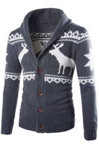 Cardigan Winter's Down Lapel Long Collection Deer Pattern Sleeves Ethic Pockets Button with qUafCFU7