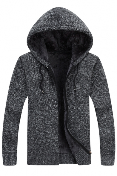 Winter's Fashion Long Sleeves Hooded Zippered Knitted Coat with Drawstring