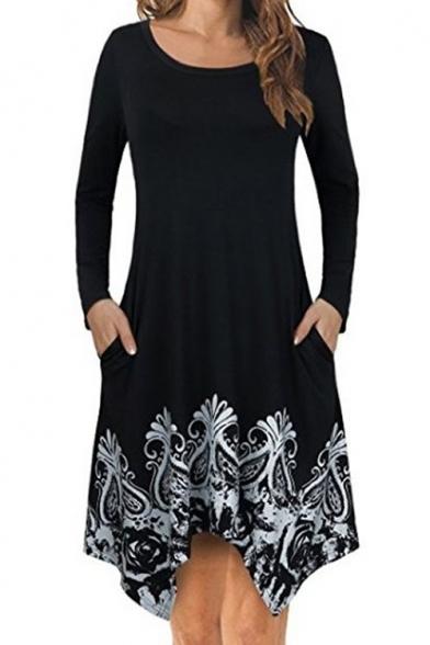 Round neck number print black asymmetric mini dress