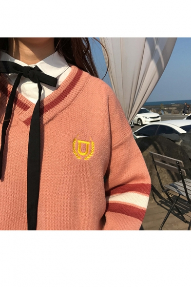 Casual with Pullover Neck Sleeves V Embroidery Long Sweater Striped 0r1F0gqx