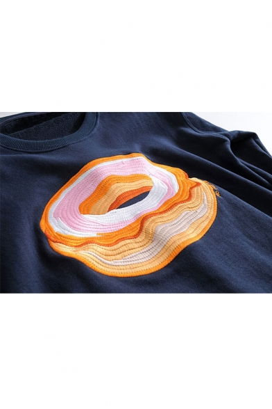 Causal Embroidery Doughnut Pattern Round Neck Long Sleeve Pullover Sweatshirt