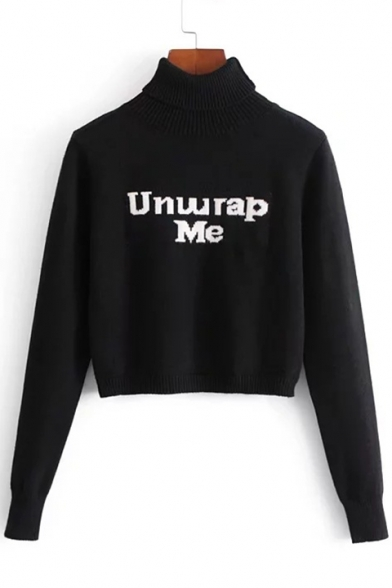 Chic Roll Neck Long Sleeves Letter Pattern Cropped Pullover Winter