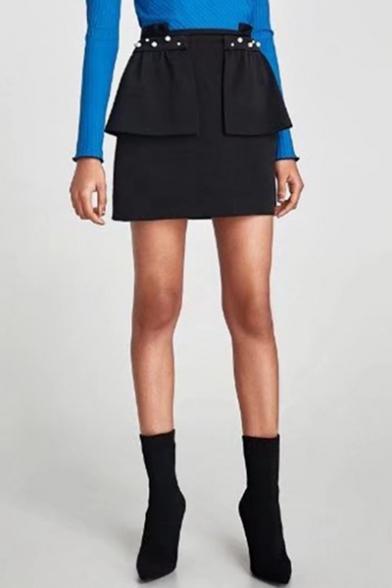 Chic Simple Plain Pearl Embellished Layered Mini Skirt