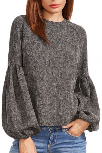 Chic Simple Plain Round Neck Long Sleeve Blouse