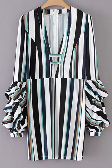 Chic Striped V-Neck Ruffle Long Sleeve Pencil Mini Dress