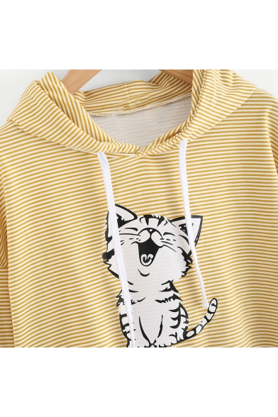 Cute Cat Cartoon Striped Pattern Long Sleeves Pullover Cropped Hoodie with Drawstring