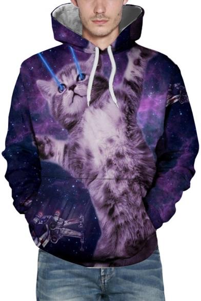 Digital Cat Print Long Sleeve Pocket Hoodie for Couple