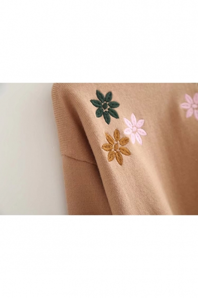 Contrast Long Neck Pullover Sweater Floral Hem Sleeve Embroidered Dip Xwxgt6Xq