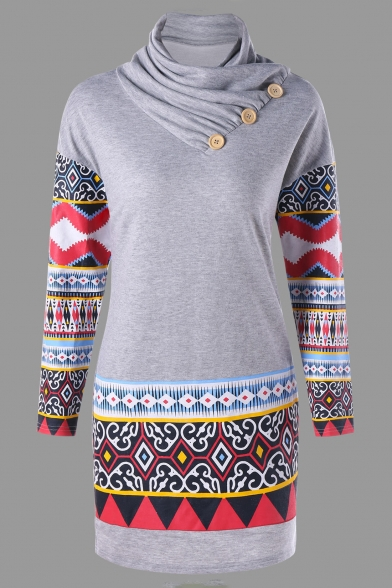 a87e2965bf6fb8 Ethnic Tribal Pattern Color Block Button Turtleneck Bodycon Mini Sweatshirt  Dress ...