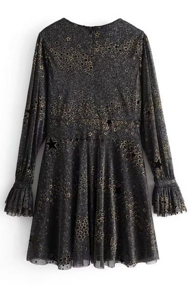 Fashion Plain Cut Out Detail Round Neck Long Sleeve Mini Dress