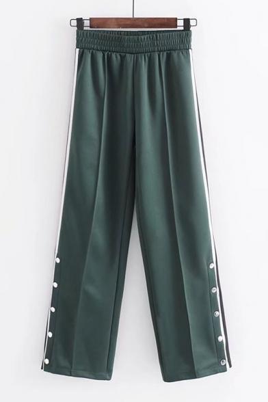 Fashionable Striped Print Button Side Elastic Waist Wide Leg Pants