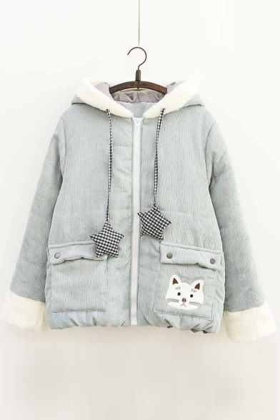 Lovely Cat Embroidered Fur Trimmed Star Drawstring Zippered Quilted Hooded Coat with Flap-Pockets