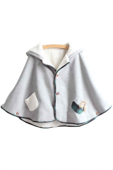 Lovely Doll Pattern Single Breasted Hooded Poncho