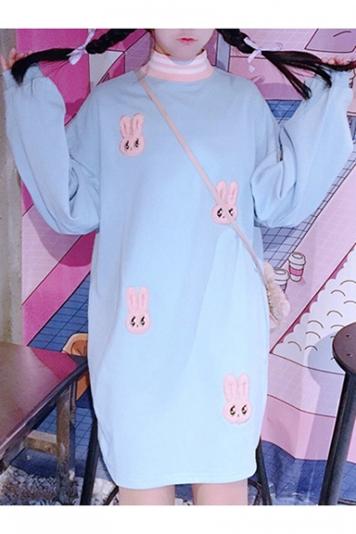 Dress Neck Sleeve Rabbit Hoodie Long Embroidered High Lovely Mini qFHwx7fw8