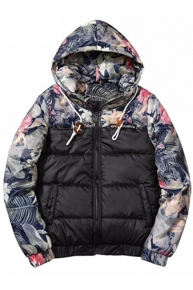 Men's Fashion Floral Pattern Contrast Long Sleeves Zippered Hooded Quilted Jacket with Pockets