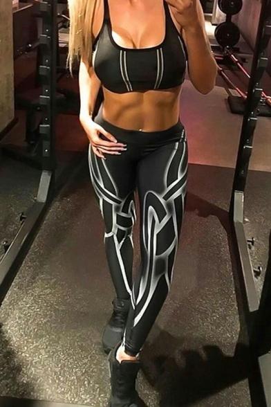 New Trendy Print Elastic Waist Skinny Yoga Pants