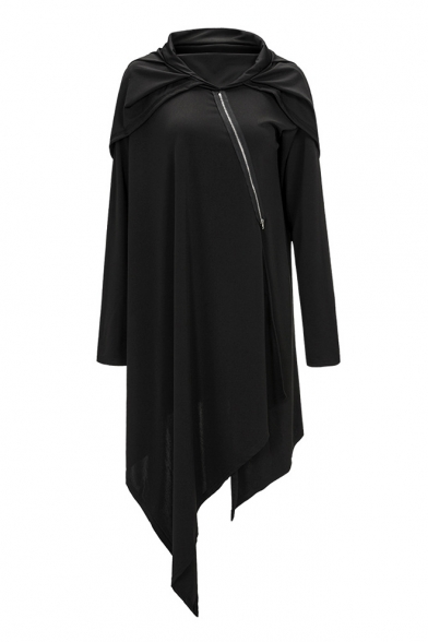 Long Plain Tunic Hem Loose Asymmetric Simple Hoodie Zippered Sleeve TIvHxvZw