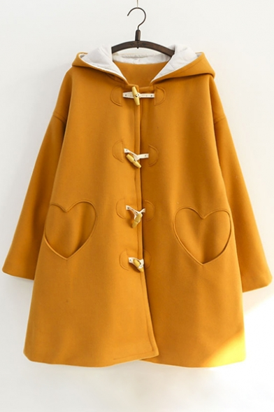 Long Heart Simple Pocked Tunic Hooded Coat Toggle Shape Plain Sleeve 7gExpIwqE