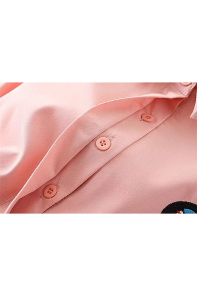 Cuffs Striped Long Lapel Sleeve Shirt Button Pattern Embroidery Stylish Haq016wY6