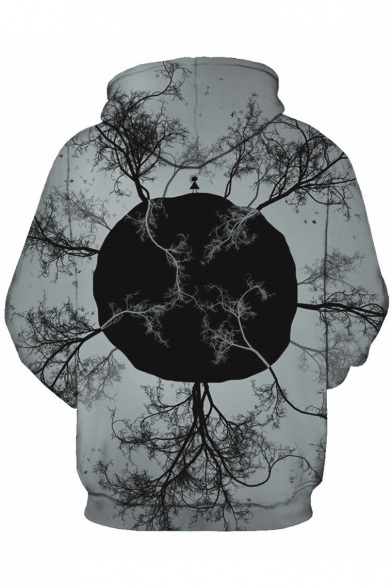 Print Hoodie for Tree Pocket Sleeve Chic Couple Digital Long YEUxgq