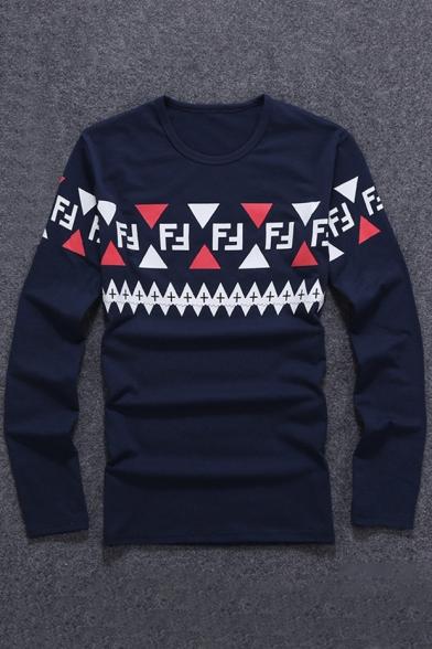 Chic Geometric Pattern Round Neck Long Sleeve Stylish T-Shirt