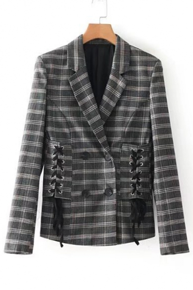 Lapel Plaid Side Sleeve Tie Blazer Crisscross Long Chic xv8BaPa