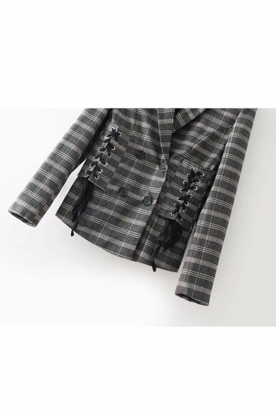 Chic Plaid Lapel Crisscross Tie Side Long Sleeve Blazer