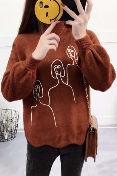 Chic Simple Figure Pattern Stand Up Neck Long Sleeve Pullover Sweater