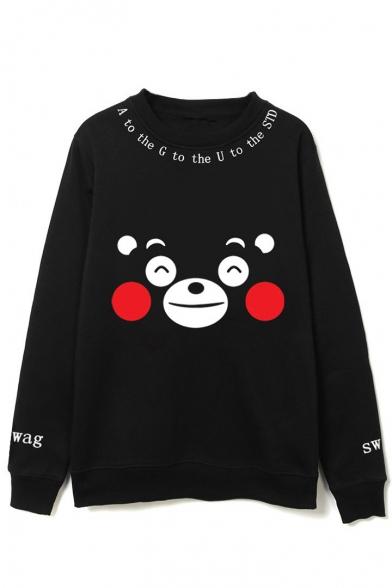 Neck Sleeve Round Bear Cartoon Long Pullover Cute Sweatshirt Print F4qHv1nxw