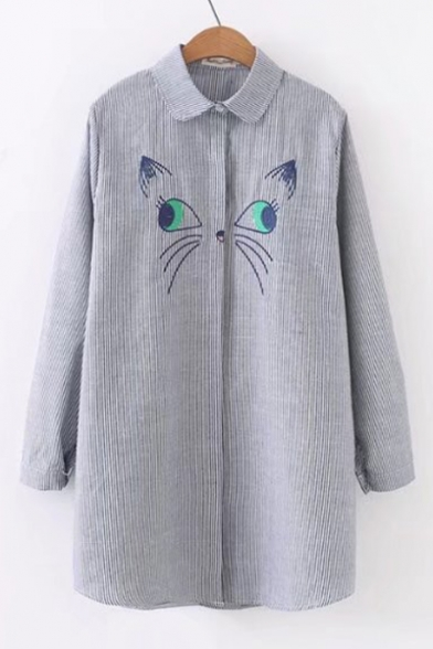 Cute Embroidered Pattern Long Sleeve Button Down Loose Longline Striped Shirt