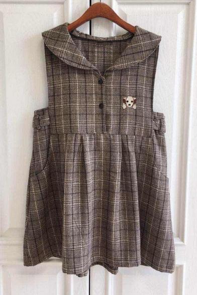 a66e33b5d9d Cute Tartan Plaids Dog Embroidery Sleeveless Navy Collar Mini Belted Smock  Dress ...