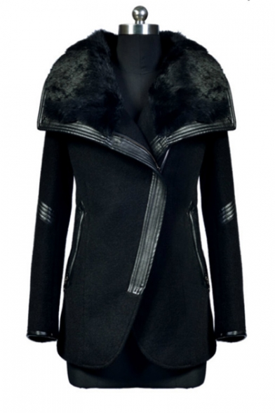 Elegant Over-Sized Faux Fur Collar Wrapped Front Long Sleeves Leather Patched Zippered Coat with Pockets