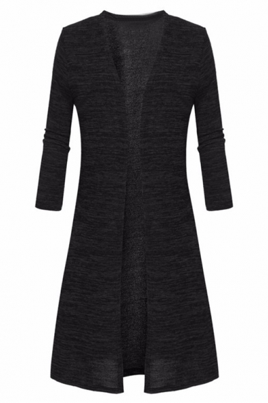 Cardigan Longline Open Long Front Women's Sleeves Elegant Plain PqOA4wH
