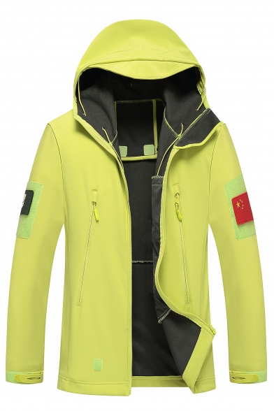 Fashion Outdoor Plain Long Sleeve Hooded Coat with Pockets