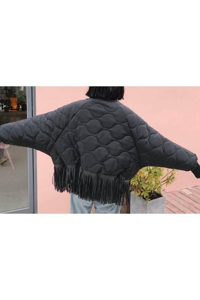 Funny Doll Embellished Tassel Hem Long Sleeve Cropped Coat