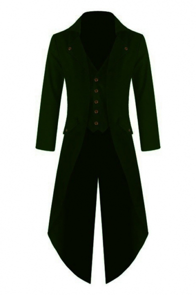 Lapel amp; Blazer Flap Sleeves Gothic Down Pockets Button Notched Long Tuxedo Sleeves Long with Vest 50fO0F